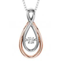 Rhythm of Love Pendant in 14K Rose & White Gold - 1/10 ctw / ROL1008r
