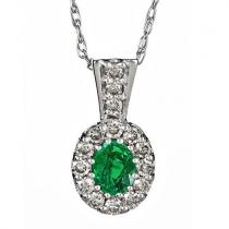 Emerald & Diamond Pendant set in 14K Gold