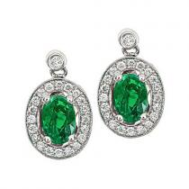 Emerald & Diamond Earring set in 14K Gold