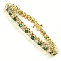 14 K Yellow Gold Diamond & Emerald Bracelet / SB946EYC7
