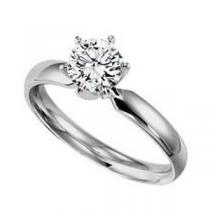 1/2 ct Round Cut Diamond Solitaire Engagement Ring in 14K White Gold/SRBF50