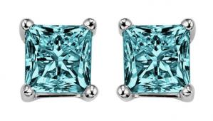 Gold Blue Diamond Studs P/Cut 1/2 ctw/BLPC6050