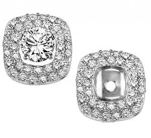 1/2 ctw Diamond Earring Jackets in 14K White Gold /FE1131