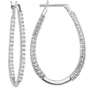 14K In-Out Diamond Earrings 2 ctw/FE1195