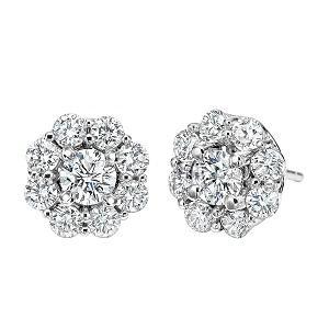1 1/3 ctw Ideal Cut Diamond Earrings in 14K White Gold /FE4066ID