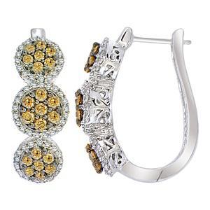 1 ctw Brown & White Diamond Earrings in 14K White Gold / FE4083