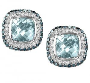 Silver Blue and White Diamonds with Blue Topaz Earrings/FE4118