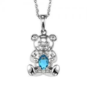Silver Aquamarine Birthstone Pendant