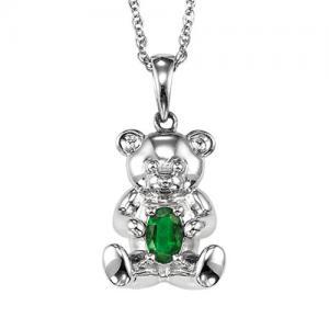 Silver Emerald Birthstone Pendant