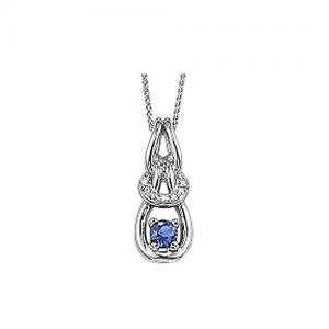 Sapphire & Diamond Pendant set in 14K Gold