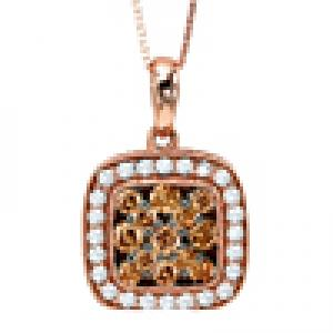 Brown and White Diamond Pendant 5/8 ctw:FP4097P