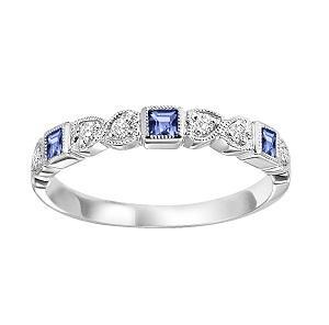 Sapphire & Diamond Ring in 10K White Gold /FR1029