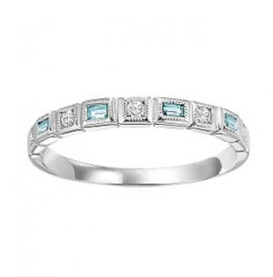 Aquamarine & Diamond Ring in 10K White Gold / FR1260