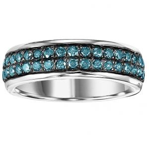 Silver Blue Diamond Band 1 ctw/FR1366