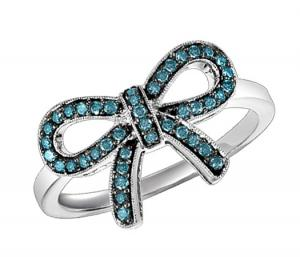 Silver Blue Diamond Ring 1/4 ctw :  FR1387