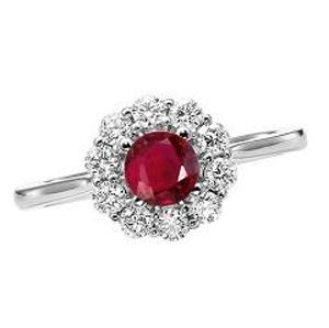 Ruby & Diamond Ring in 14K White Gold / FR4066RWB