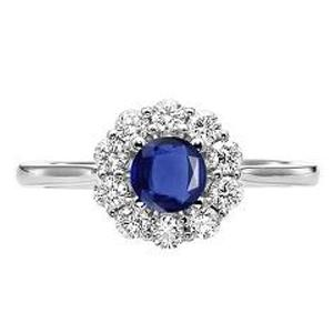 Sapphire & Diamond Ring in 14K White Gold / FR4066SWB