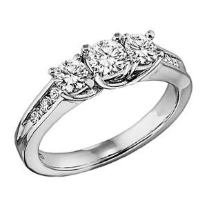1 ctw Three Stone Plus Diamond Ring in 14K White Gold/HDR1295LW