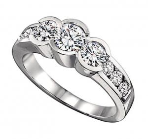 1 1/2 ctw Three Stone Plus Diamond Ring in 14K White Gold / HDR1324LW