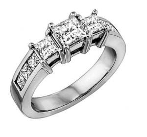 1 ctw Three Stone Plus Diamond Ring in 14K White Gold/HDR1328LW