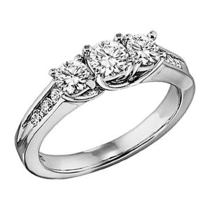 2 ctw Three Stone Plus Diamond Ring in 14K White Gold/HDR1336LW