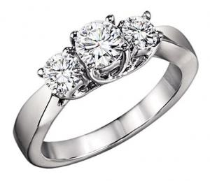1 1/2 ctw Three Stone Diamond Ring in 14K White Gold/HDR1364LW