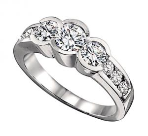 1 ctw Three Stone Plus Diamond Ring in 14K White Gold/HDR1384LW