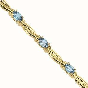 14K Yellow Gold & Blue Topaz Bracelet : JB2482YB