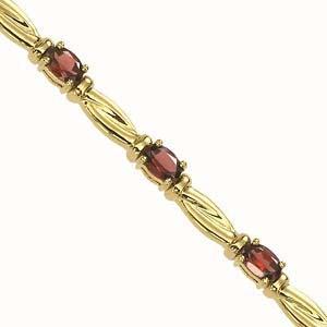 14K Yellow Gold & Garnet Bracelet / JB2482YG