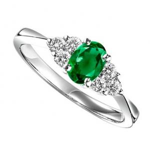 Emerald & Diamond Ring in 14K White Gold / OV396E