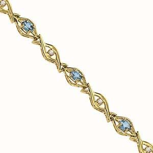 14 K Yellow Gold Diamond & Blue Topaz Bracelet / PK446YBC