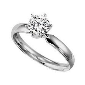1 ct Round Cut Diamond Solitaire Engagement Ring in 14K White Gold /SRBF100